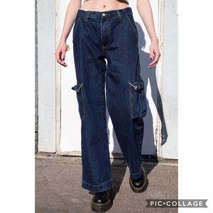 J Galt Brandy Melville Wide Leg Cargo Denim Jeans